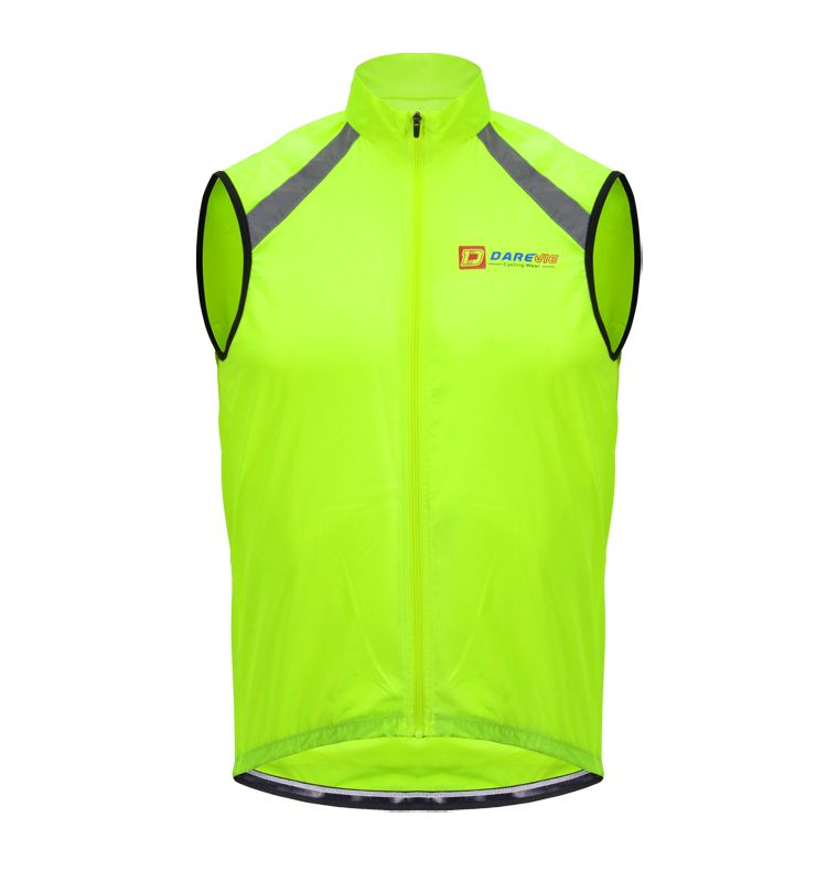 High-Viz Neon Yellow Reflective Cycling Gilets/Vest With Stowaway Pocket