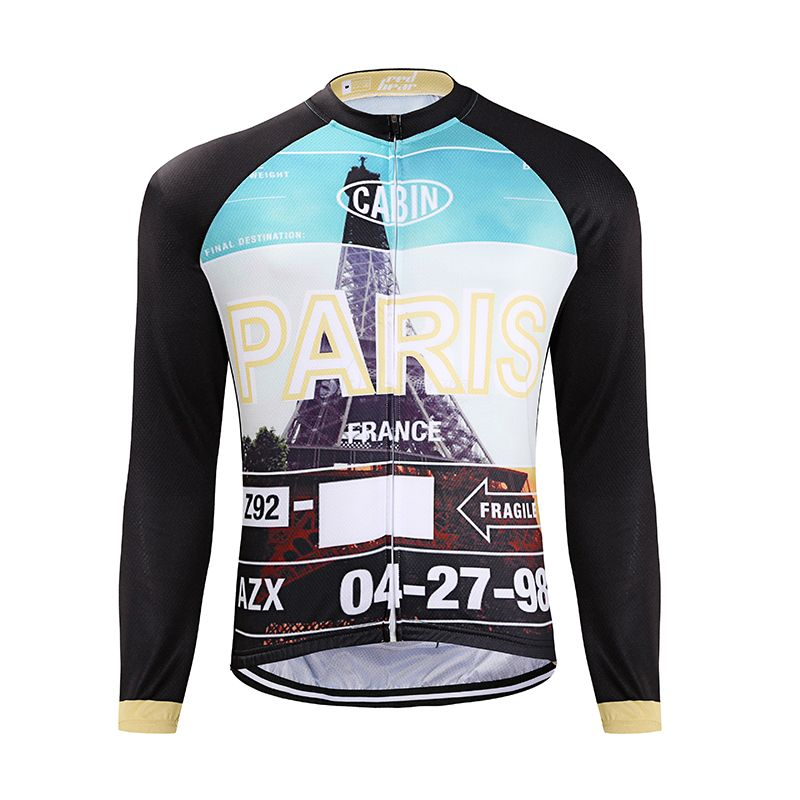 Men's Long Sleeve Paris Cityscape Performance Cycle Jersey