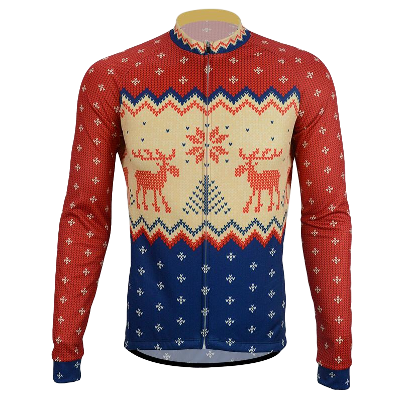 Men's Thermal  Long Sleeve Christmas Jumper  Winter Cycle Jersey
