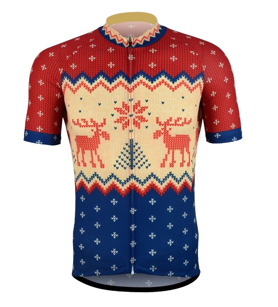 Mens Short Sleeve Christmas Jumper Cycling Jersey